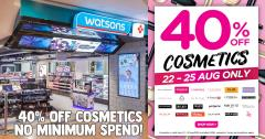 Watsons is having 40% off cosmetics for the first time ever till